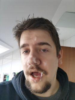 Marcel Sprenger with cum on his face