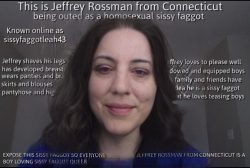 This is the sissy faggot Jeffrey Rossman from Connecticut with his hair down wearing just a touc ...