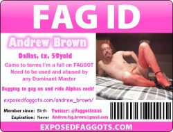 Andrew Brown's EF ID card. Yes, he is an exposed faggot