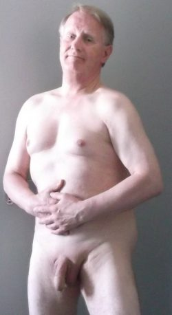 Totally exposed with my shaved penis….