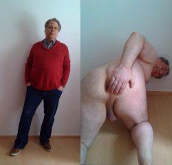Schwuchtel angezogen und nackt