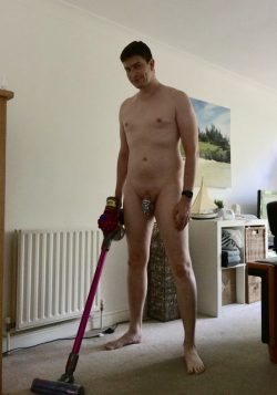 doing chores naked and locked is perfect