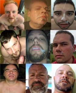 Yeah that's my cum covered faggot face you see on the top middle. That someone made of cum ...
