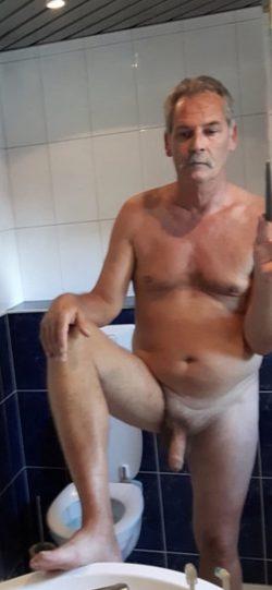 Gerrit Rozeboom admiring his cock in the mirror