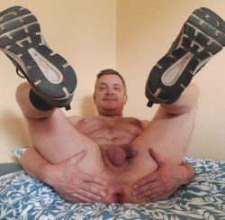 legs up and spread