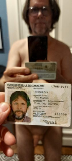 Naked and showing ID